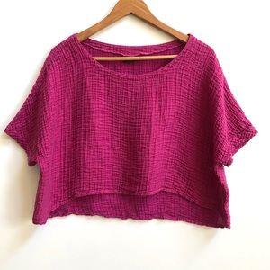 Lisa Bayne pink textured crop top